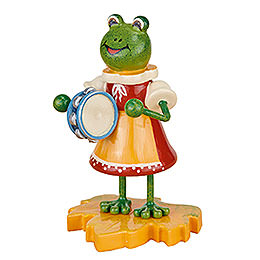 Frog girl with tambourine  -  8cm / 3inch