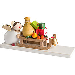 Guardian angel with present sleigh  -  3,5cm / 2inch / 1.4inch