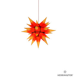 Herrnhuter Moravian star I4 yellow with red core paper  -  40cm