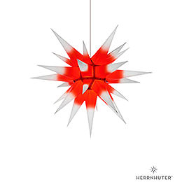 Herrnhuter Moravian star I6 white with red core paper  -  60cm
