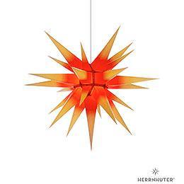 Herrnhuter Moravian star I7 yellow with red core paper  -  70cm