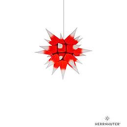 Herrnhuter Stern I4 weiss/roter Kern Papier  -  40cm