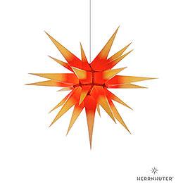 Herrnhuter Stern I7 gelb/roter Kern Papier  -  70cm