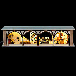 Illuminated stand wine cellar for candle arches  -  50x12x10cm / 20x5x4inch