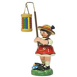 Lampionkind Mädchen mit Streifenlampion  -  8cm