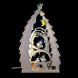 Lichterspitze Baum mit Schneem�nnern  -  43x25x4,5cm