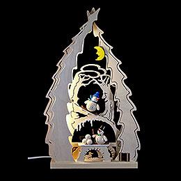 Light Triangle  -  Tree with Snowmen  -  43x25x4,5cm / 16.9x9.8x1.7 inch