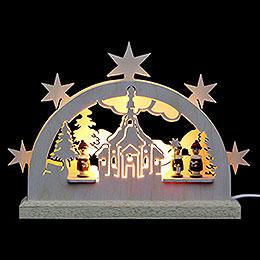 Mini LED Schwibbogen  -  Seiffener Kirche  -  23 x 15 x 4,5cm
