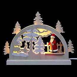 Mini LED Schwibbogen  -  Weihnachtsmann im Wald  -  23 x 15 x 4,5cm
