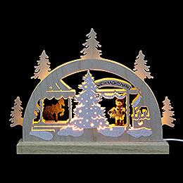 Mini - LED - Schwibbogen Weihnachtsmarkt  -  23x15x4,5cm