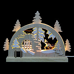 Mini LED Schwibbogen  -  Winterlandschaft  -  23 x 15 x 4,5cm