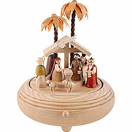 Music Box Nativity Scene natural wood  -  8 inch  -  20cm