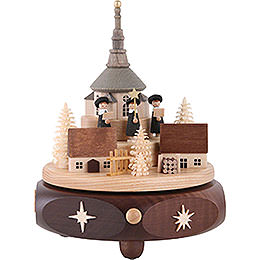 Music Box Seiffen Village with Carolers  -  7 inch  -  17cm