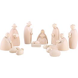 Nativity set of 12 pieces, natural  -  12cm / 4.7inch