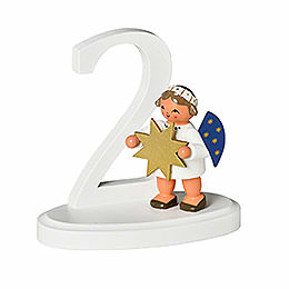 """Number """"2"""" with angel  -  7cm / 2.8inch"""