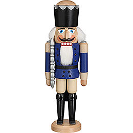 Nussknacker König Esche blau lasiert  -  39cm