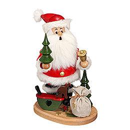 Räuchermännchen Weihnachtsmann mit Schaukelpferd  -  22cm