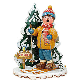 Räuchermänner Winterkind Schneeschuhfahrer  -  20cm