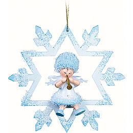 Schneeflöckchen mit Klarinette im Kristal  -  7x7x4cm