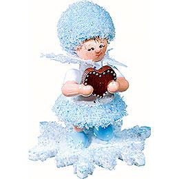 Schneeflöckchen mit Lebkuchenherz -  5cm