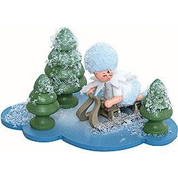 Schneeflöckchen mit Schlitten  -  10x7x6cm