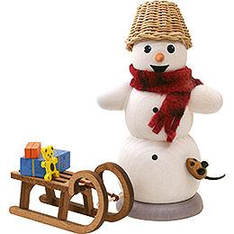 Schneemann mit Schlitten und Maus  -  13cm