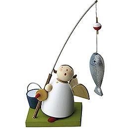 Schutzengel mit Fisch an Angel  -  3,5cm