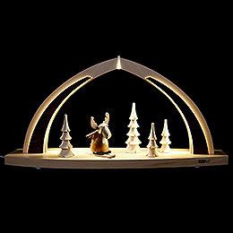 Schwibbogen modern wood LED - Bogen klein Elch  -  41x20x9,5cm