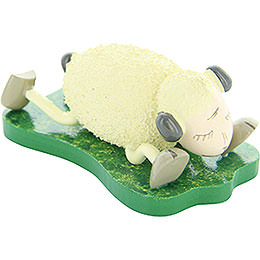 """Sheep """"Schlaffi"""", Lying on the Stomach  -  3,5cm / 1.4 inch"""