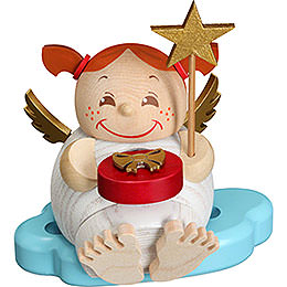 Smoker Angel with Christmas present  -  12cm / 4.7inch