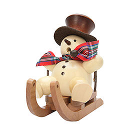 Smoker Snowman on Sleigh natural  -  10,5cm / 4inch