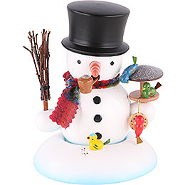 Smoker Snowman with bird house  -  15cm / 6 inch