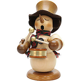 Smoker Snowman with drum natur, limited  -  23cm / 9.1inch
