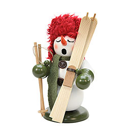 Smoker Snowman with ski  -  23cm / 9 inches