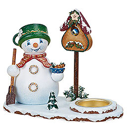 Smoker Snowman with tealight  14cm / 5inch