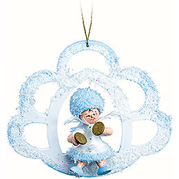 Snowflake with Cymbal in Cloud  -  7x7x4cm / 2.8x2.8x1.6 inch
