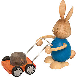Snubby Bunny with lawn mower  -  12cm / 4.7inch