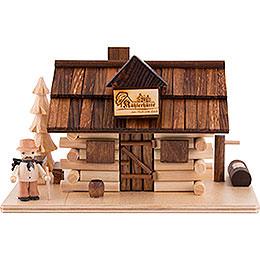 Traditionelles Rauchhaus Köhlerhütte mit Waldarbeiter  -  10,5cm