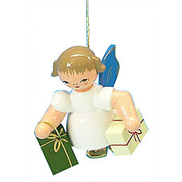 Tree Ornament  -  Angel with 2 Gifts  -  Blue Wings  -  Floating  -  6cm / 2,3 inch