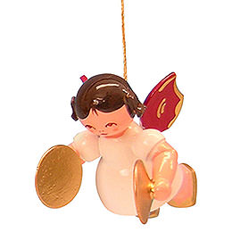 Tree Ornament  -  Angel with Cymbal  -  Red Wings  -  Floating  -  5,5cm / 2,1 inch