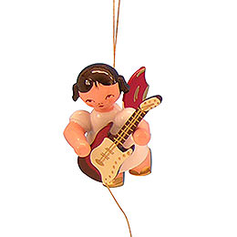 Tree Ornament  -  Angel with Electric Guitar  -  Red Wings  -  Floating  -  5,5cm / 2,1 inch
