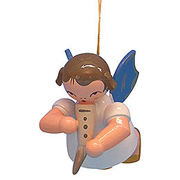 Tree Ornament  -  Angel with Gemshorn  -  Blue Wings  -  Floating  -  5,5cm / 2,1 inch