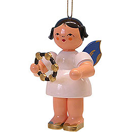 Tree Ornament  -  Angel with Jingle Ring  -  Blue Wings  -  Floating  -  9,5cm / 3.7 inch