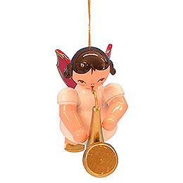 Tree Ornament  -  Angel with Saxophone  -  Red Wings  -  Floating  -  5,5cm / 2,1 inch