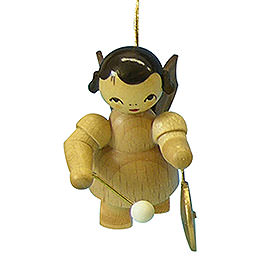Tree Ornament  -  Angel with Small Gong  -  Natural Colors  -  Floating  -  5,5cm / 2,1 inch