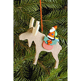 Tree Ornament  -  Moose with Santa Claus  -  8,1x8,0cm / 3.2x3.1 inch