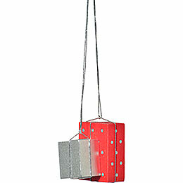 "Tree Ornament  -  ""Presents Red/Silver""  -  4cm / 1.6 inch"