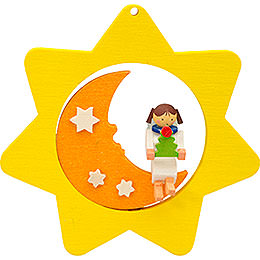 Tree Ornament  -  Star - Moon - Angel with Tree  -  8cm / 3.1 inch