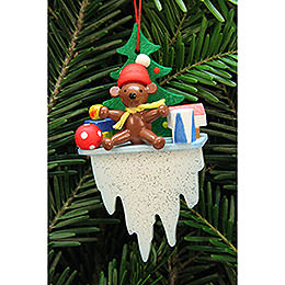 Tree Ornament  -  Teddy on Icicle  -  4,5x8,8cm / 1.7x3.4 inch