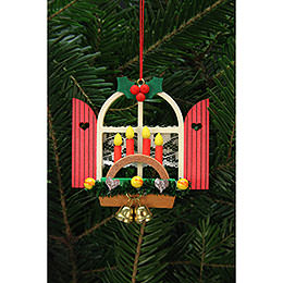 Tree Ornaments Advent Window with Candle Arch  -  7,6x7,0cm / 3x3 inch